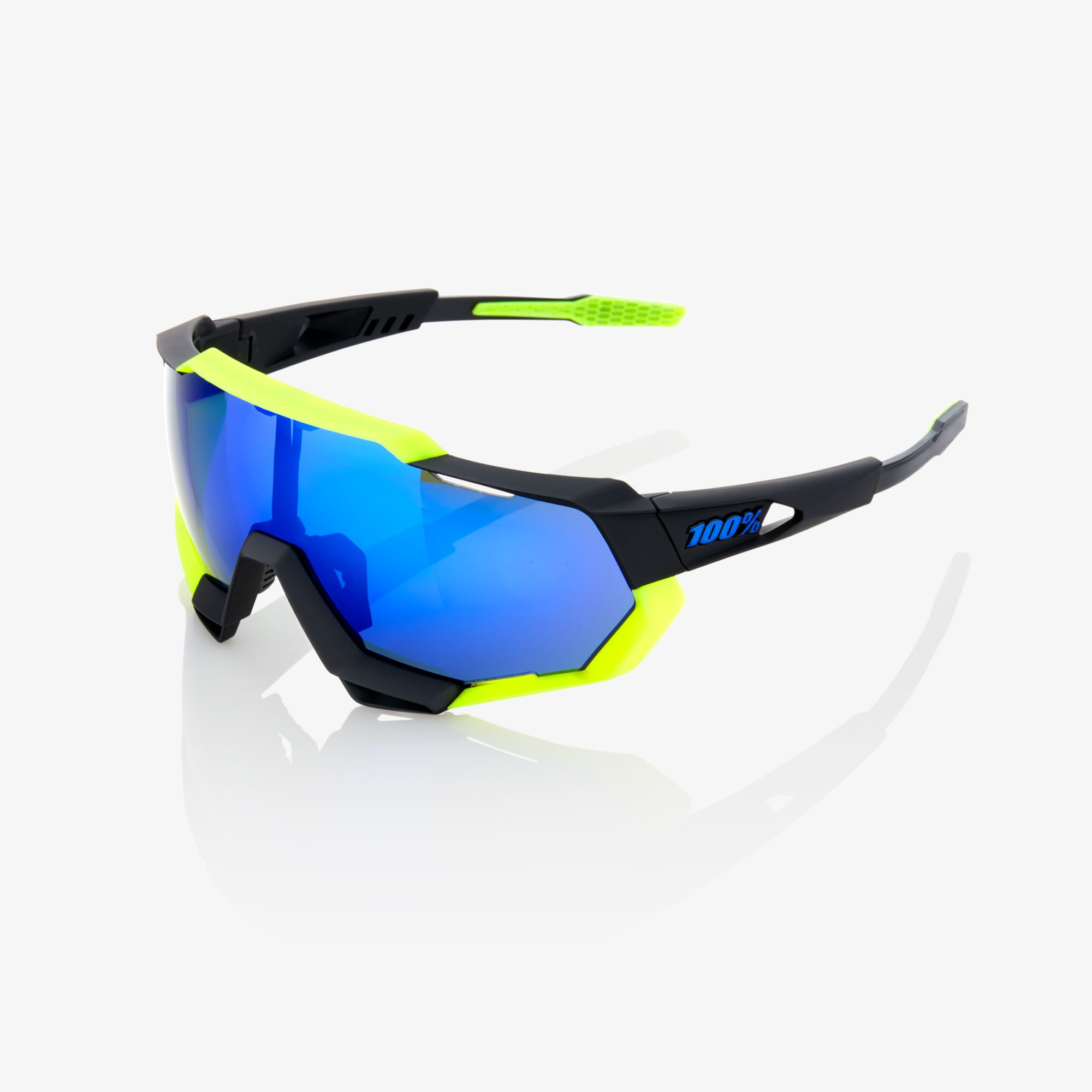 Okuliare 100% Speedtrap Polished Black Matte Neon Yellow - Electric Blue  Mirror 5cebca53e75