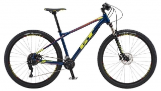 "2018 Bicykel GT Avalanche 29"" Elite Deep Navy Neon Yellow Neon Red"