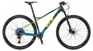 "2018 Bicykel GT Zaskar 29"" Carbon Pro Raw Neon Yellow Cyan"