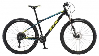 "2018 Bicykel GT Avalanche 29"" Expert Satin Black Neon Yellow Cyan"