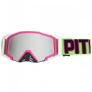 MX Okuliare Pitcha SAVAGE PINK/NEON GREEN - SILVER MIRRORED