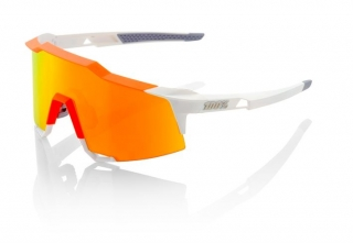 Okuliare 100% Speedcraft Tall White/Neon Orange w/ HiPer Red Multilayer Mirror