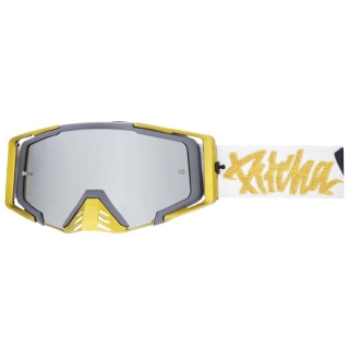 MX Okuliare Pitcha Savage Podmol White/Gold - Silver Mirrored