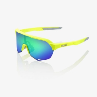 Okuliare 100% S2 Matte Fluorescent Yellow w/Green Multilayer Mirror Lens